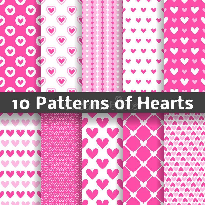 De vector naadloze patronen van de hartvorm (het betegelen) stock illustratie