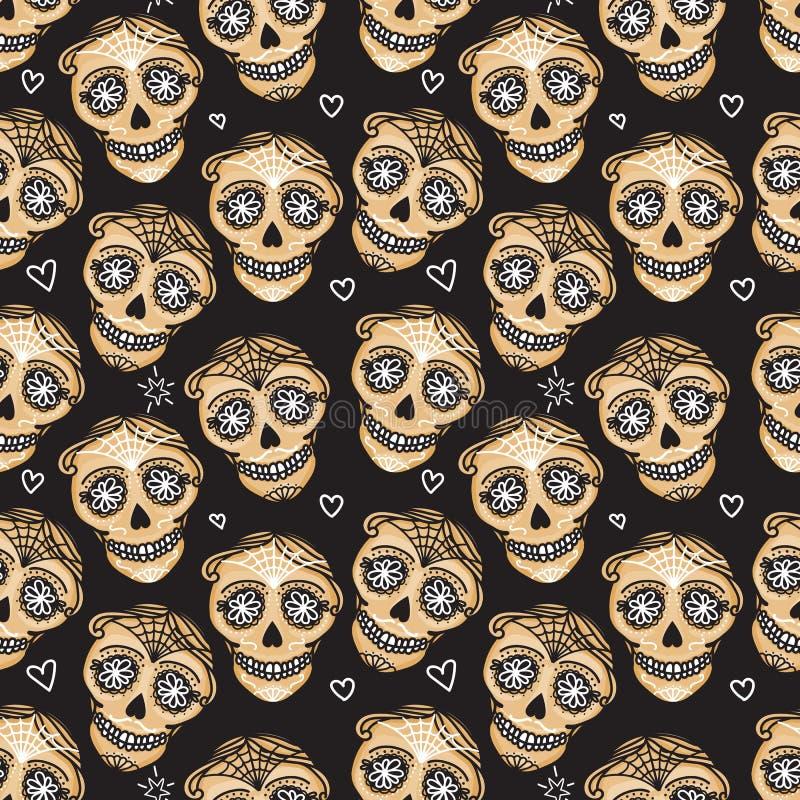 De vector Naadloze schedel van patroon Gouden Calavera Hand getrokken Mannelijke mannelijke ontwerptextuur stock illustratie