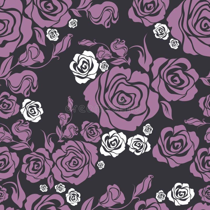 De vector Naadloze uitstekende bloem nam patroon toe vector illustratie