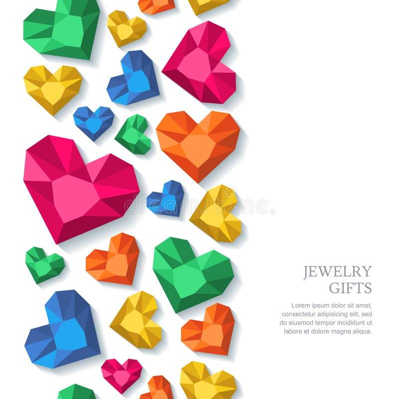 De vector naadloze verticale achtergrond met diamanten, gemmen, juwelen in hart vormt royalty-vrije illustratie