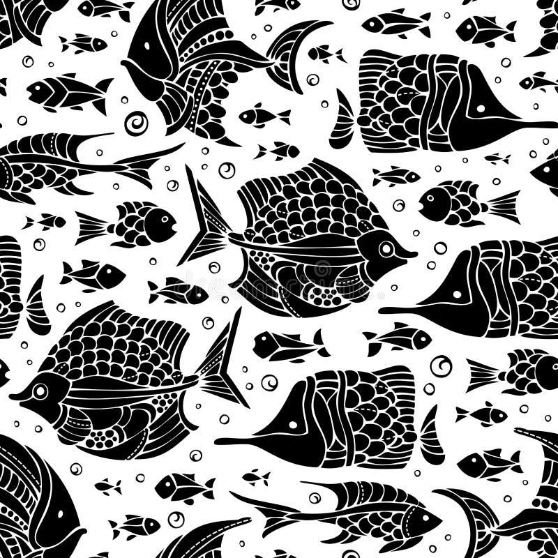 De vector naadloze vis silhouetteert patroon royalty-vrije illustratie