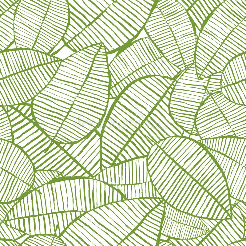 De vector naadloze waterverf verlaat patroon Groene en witte de lenteachtergrond Bloemenontwerp voor manier textieldruk stock illustratie