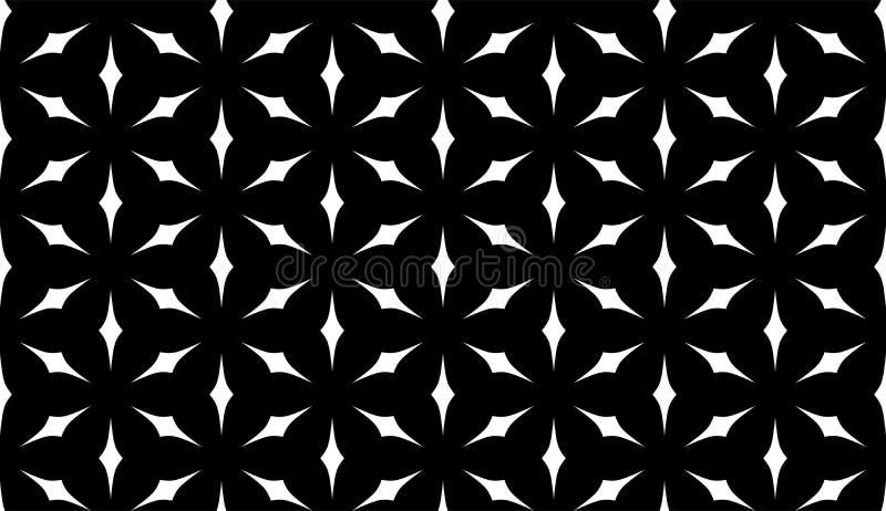 De vector Naadloze Zwart-witte Geometrische Achtergrond van het bloempatroon stock illustratie