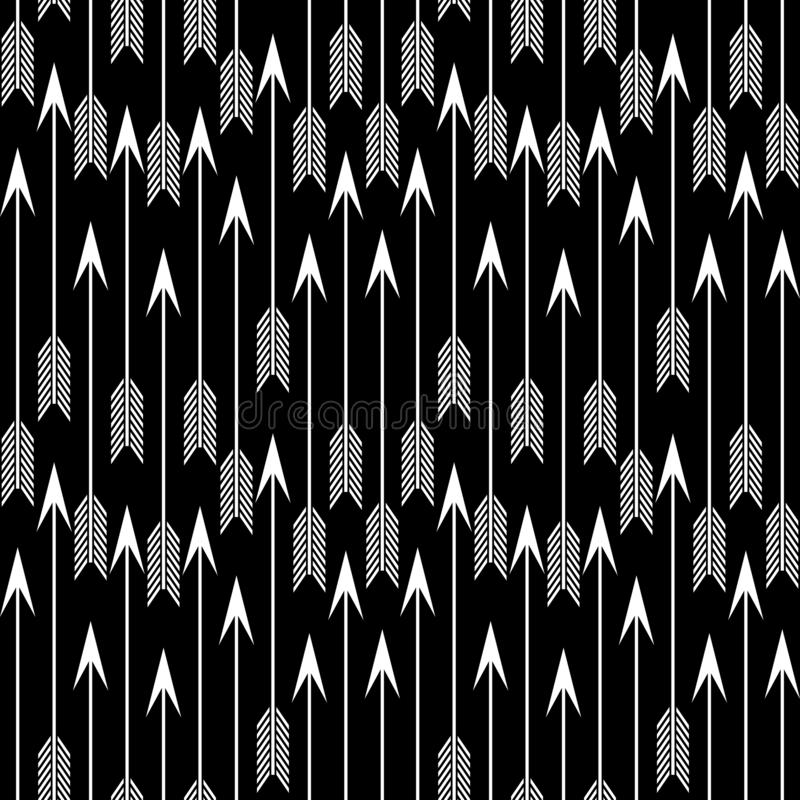 De vector Naadloze Zwart-witte Geometrische Achtergrond van het pijlpatroon royalty-vrije illustratie