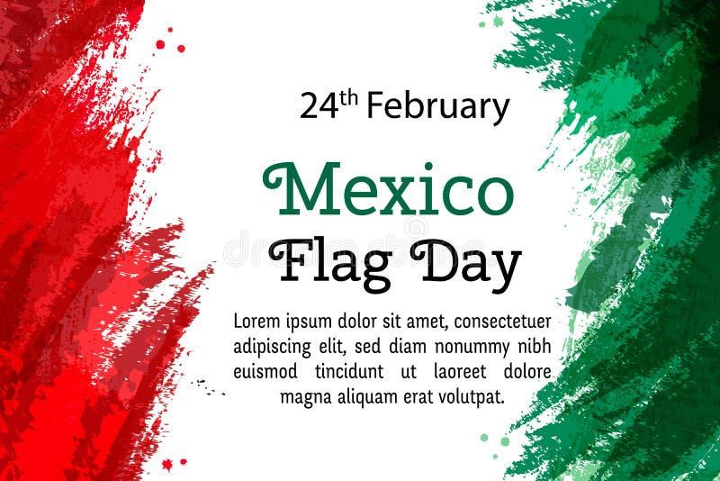 De vector Nationale Dag van illustratiemexico, Mexicaanse vlag in in stijl 24 Februari-Dag van Vlag Mexico Het malplaatje van het royalty-vrije illustratie