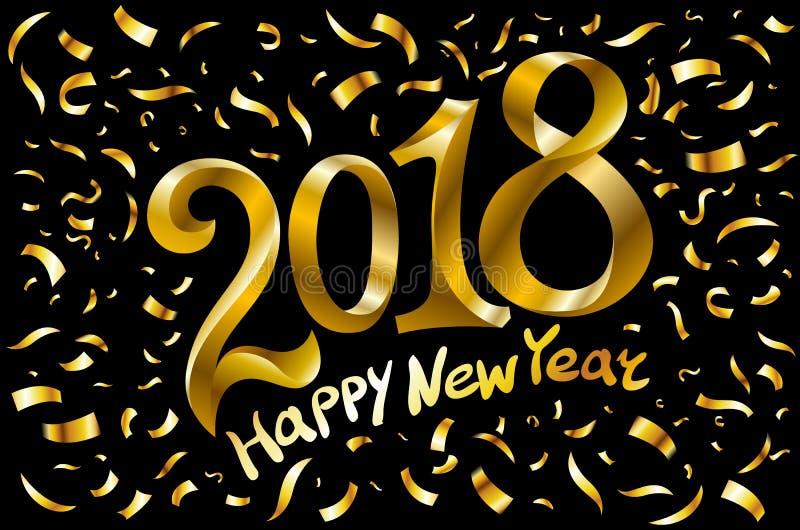 De vector 2018 Nieuwjaar Zwarte achtergrond met goud schittert confettien ploetert textuur Het feestelijke malplaatje van het pre vector illustratie