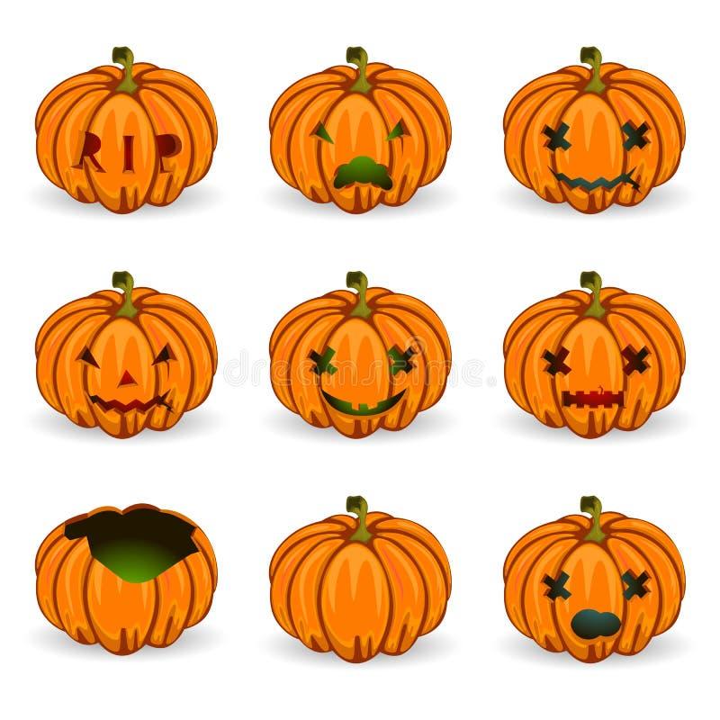 De vector oranje geplaatste pictogrammen van Halloween pumkins royalty-vrije illustratie