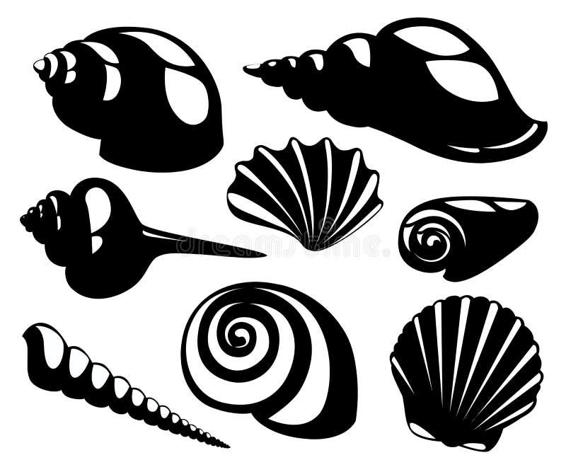 De vector overzeese die shells en silhouetten van de parelzeeschelp op witte achtergrond wordt geïsoleerd royalty-vrije illustratie