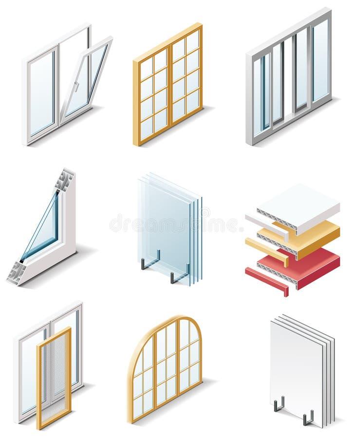 De vector pictogrammen van de bouwproducten. Deel 4. Vensters stock illustratie