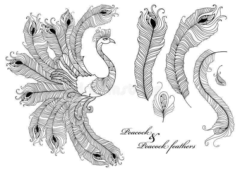 De vector plaatste met overladen die pauw en pauwveren in zwarte op witte achtergrond wordt geïsoleerd Siervogel en overzichtsver royalty-vrije illustratie