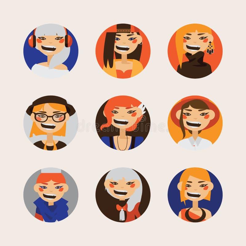 De vector plaatste met vrouwelijke hipsteravatars die en bij toeschouwer in cirkels glimlachen letten op Heldere karakters met di royalty-vrije illustratie