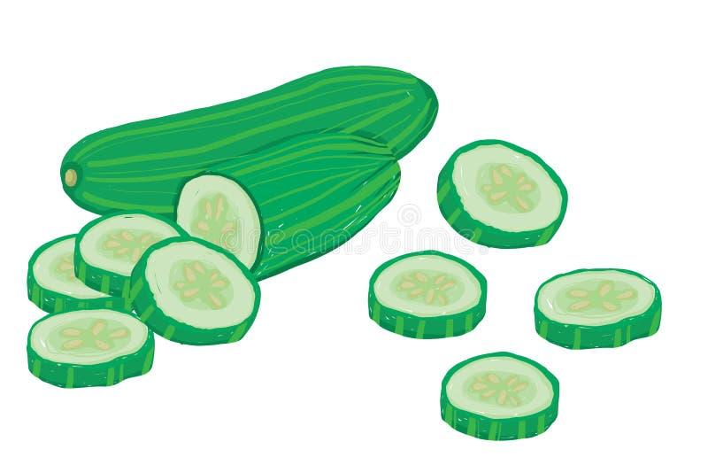 De vector plaatste painterly van komkommers, ruw en gesneden vector illustratie