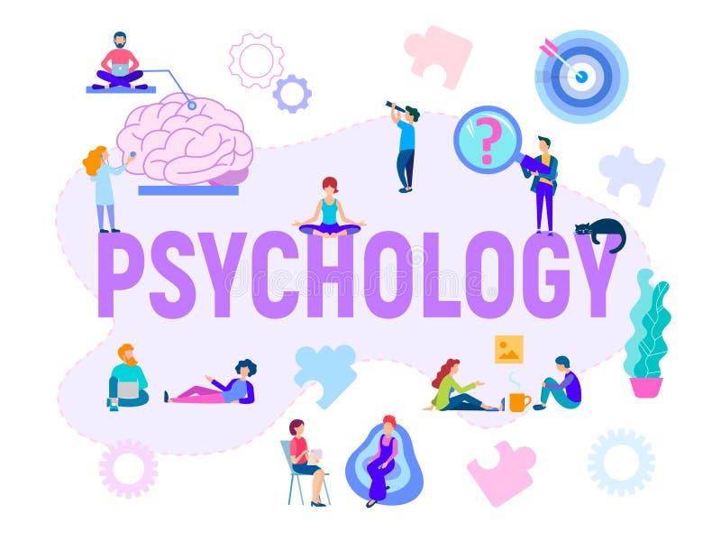 De vector psychologische hulp van de illustratiebanner, het adviseren, opleiding, groepsklassen vector illustratie