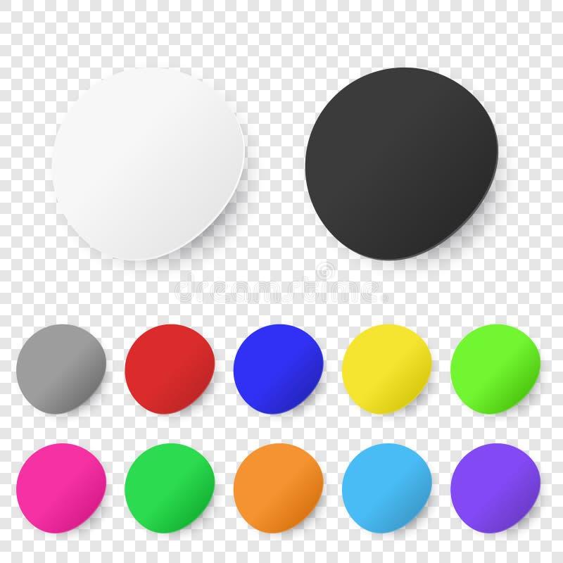 De vector Realistische 3d Ronde Kleefstof kleurde de Lege Document Vastgestelde die Close-up van het Stickerpictogram op Transpar stock illustratie
