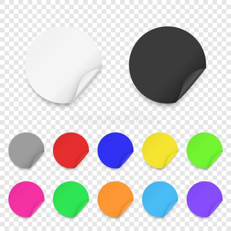 De vector Realistische 3d Ronde Kleefstof kleurde de Lege Document Vastgestelde die Close-up van het Stickerpictogram op Transpar vector illustratie