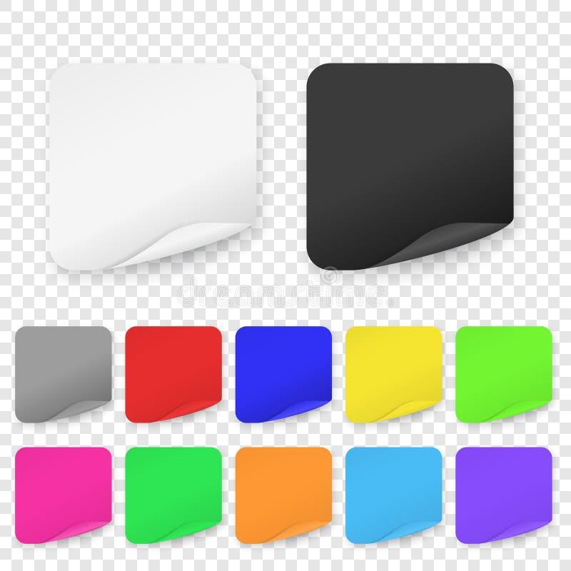 De vector Realistische 3d Vierkante Kleefstof kleurde de Lege Document Vastgestelde die Close-up van het Stickerpictogram op Tran stock illustratie