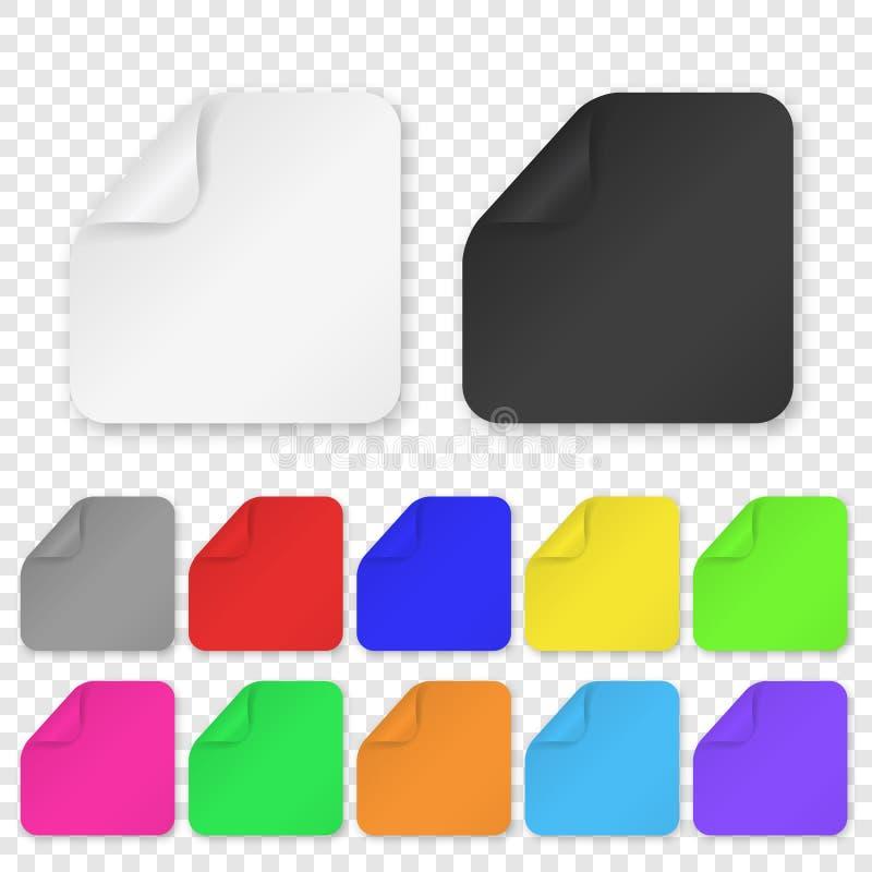 De vector Realistische 3d Vierkante Kleefstof kleurde de Lege Document Vastgestelde die Close-up van het Stickerpictogram op Tran vector illustratie