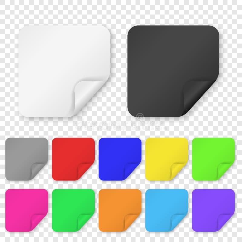 De vector Realistische 3d Vierkante Kleefstof kleurde de Lege Document Vastgestelde die Close-up van het Stickerpictogram op Tran royalty-vrije illustratie