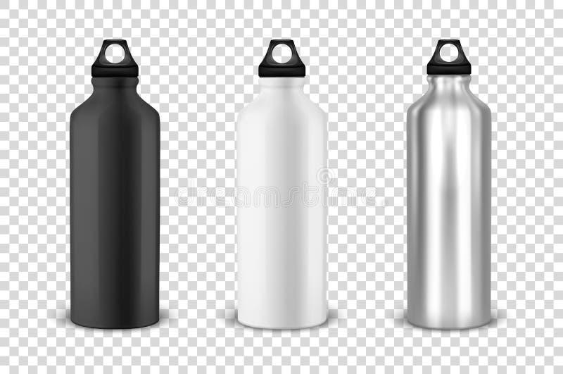 De vector realistische 3d zwarte, witte en zilveren lege glanzende fles van het metaalwater met de zwarte vastgestelde close-up v vector illustratie