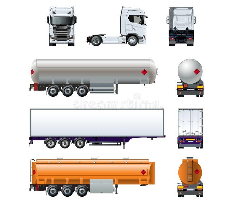 De vector realistische semi die reeks van het vrachtwagenmodel op wit wordt geïsoleerd vector illustratie