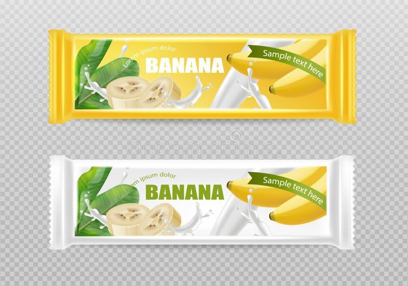 De Vector realistische spot van de banaanchocolade omhoog Het etiketontwerp van de productplaatsing Gedetailleerde 3d illustratie stock illustratie