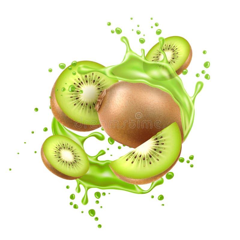 De vector realistische verse stroom van het kiwi exotische fruit stock illustratie