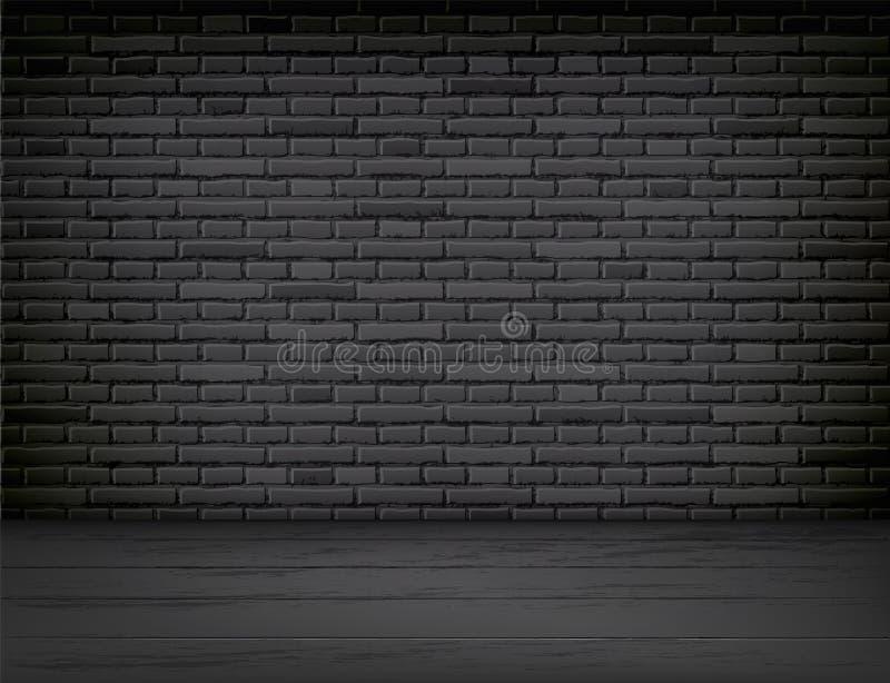 De vector realistische zwarte ruimte van de bakstenen muur houten vloer vector illustratie