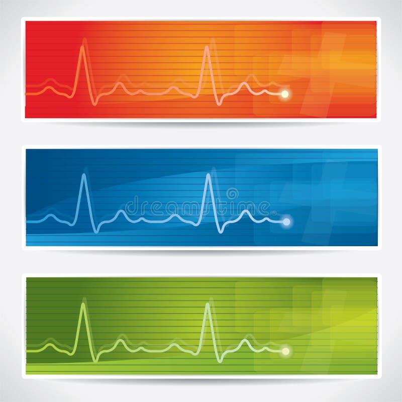 De vector reeks van de cardiogrambanner vector illustratie