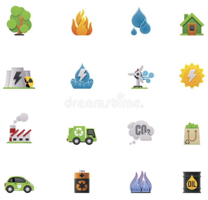 De vector reeks van het ecologiepictogram royalty-vrije illustratie