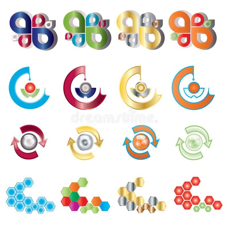 De vector reeks van het kleurenembleem stock foto's