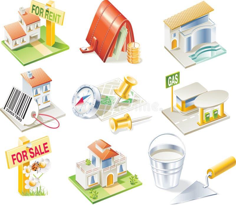 De vector reeks van het onroerende goederenpictogram stock illustratie