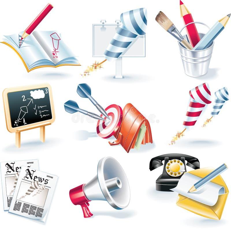 De vector reeks van het reclamecampagnepictogram stock illustratie