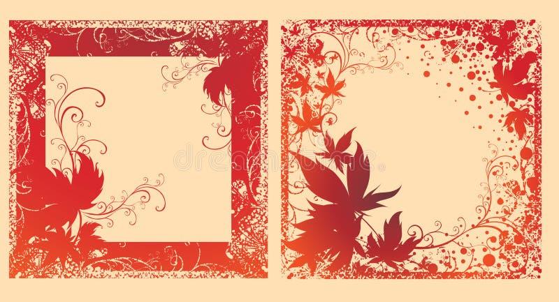 De Vector Reeks Zwarte Frames Met De Herfst Doorbladert. Royalty-vrije Stock Foto's