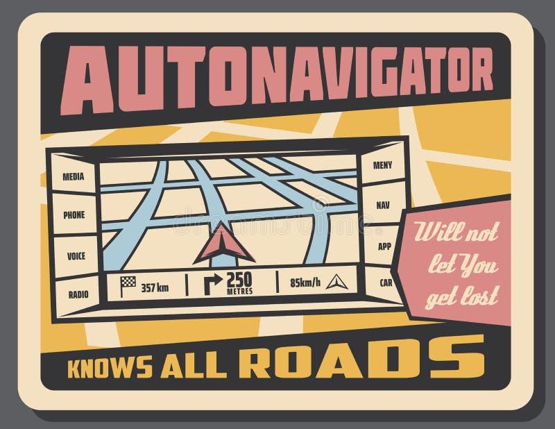 De vector retro affiche van de Autonavigatornavigatie royalty-vrije illustratie