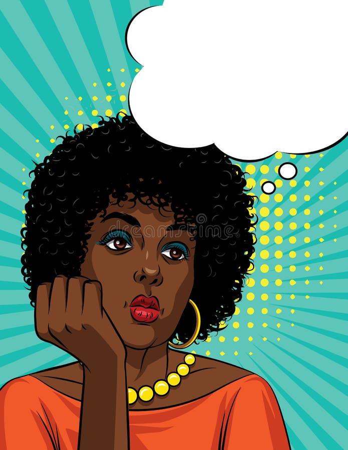 De vector retro grappige stijl van het illustratiepop-art van een boring vrouwen` s gezicht royalty-vrije illustratie