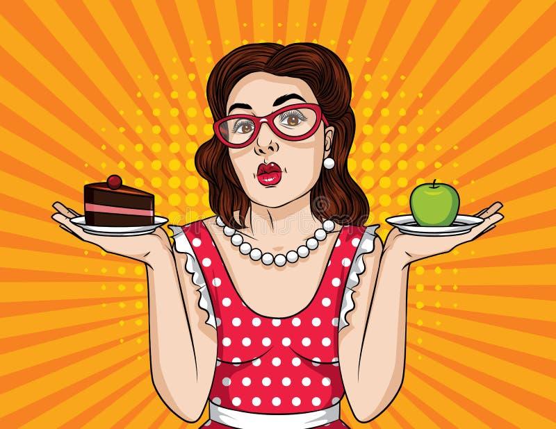De vector retro grappige stijl van het illustratiepop-art van een emotionele vrouw die een besluit tussen gezond en ongezond voed royalty-vrije illustratie