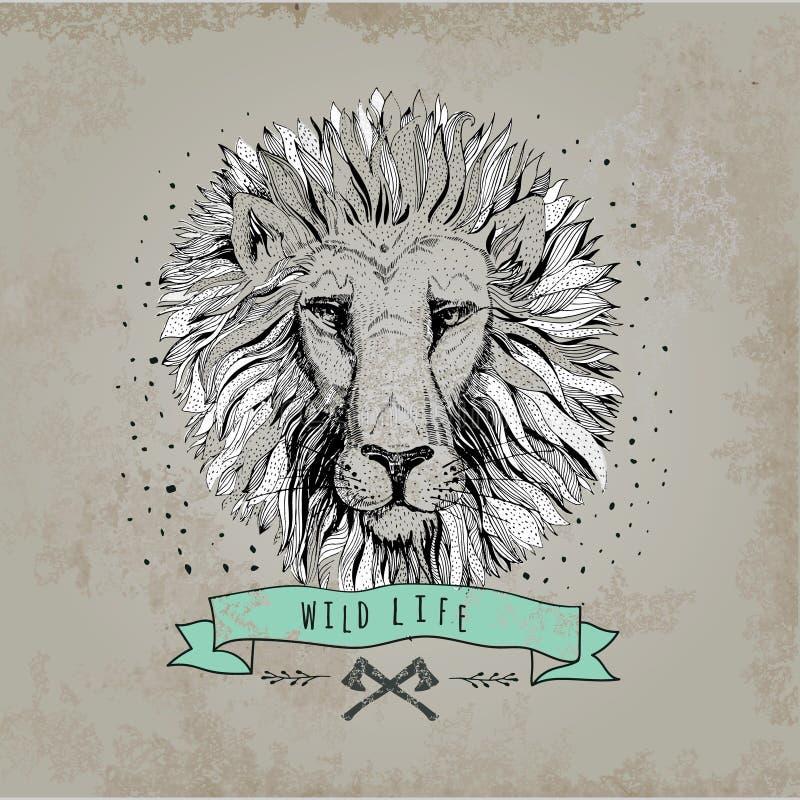 De vector retro illustratie van het leeuw hoofdontwerp royalty-vrije illustratie