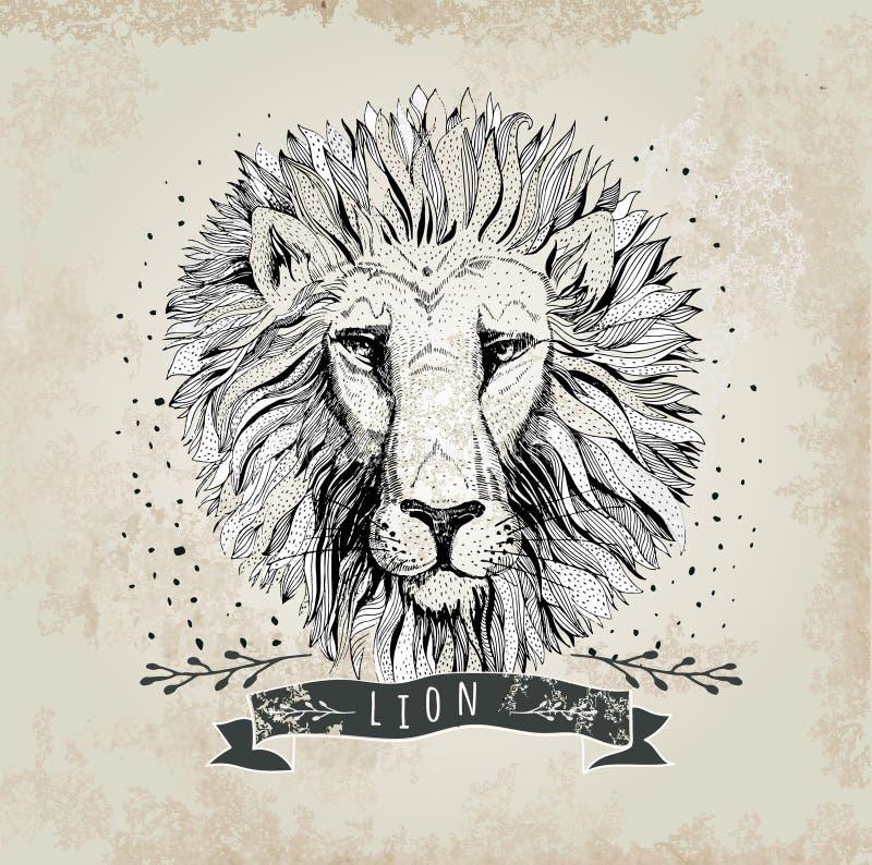 De vector retro illustratie van het leeuw hoofdontwerp vector illustratie