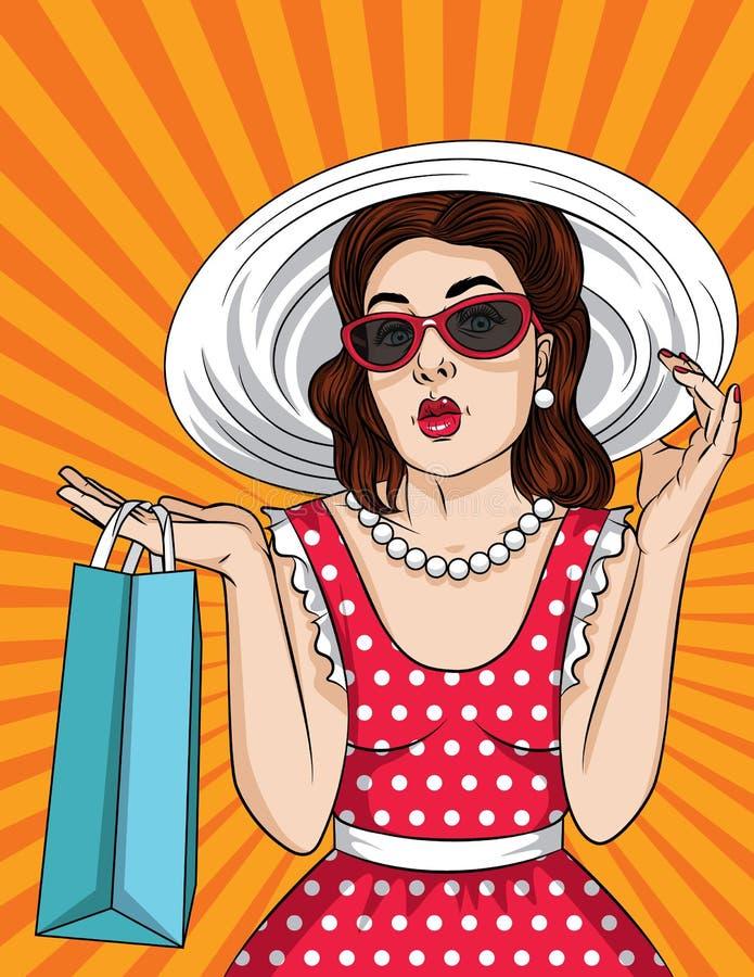 De vector retro illustratie van mooie vrouw van de pop-art de grappige stijl in zonnebril en de grote hoed gaan winkelend vector illustratie