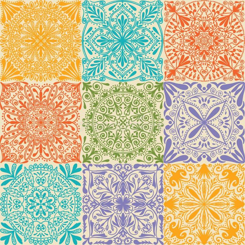 De vector retro symmetrische achtergrond van het tegels naadloze patroon royalty-vrije illustratie