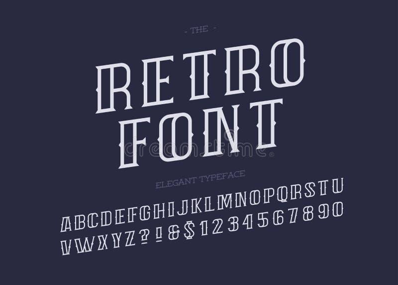 De vector retro witte kleur van de alfabet moderne typografie stock illustratie