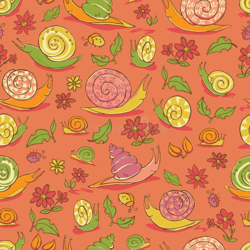 De vector rode hand getrokken slakken en de bloemen herhalen patroon Geschikt voor giftomslag, textiel en behang stock illustratie