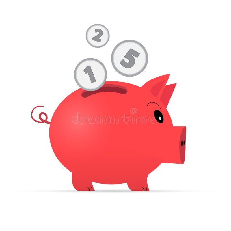 De vector Rode Illustratie van het Spaarvarken vector illustratie