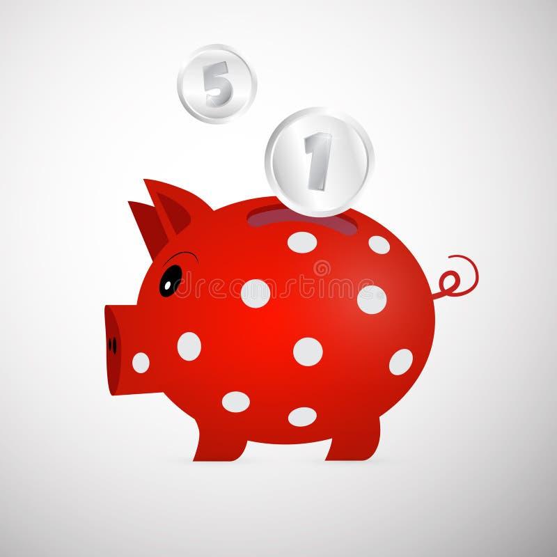 De vector Rode Illustratie van het Spaarvarken royalty-vrije illustratie