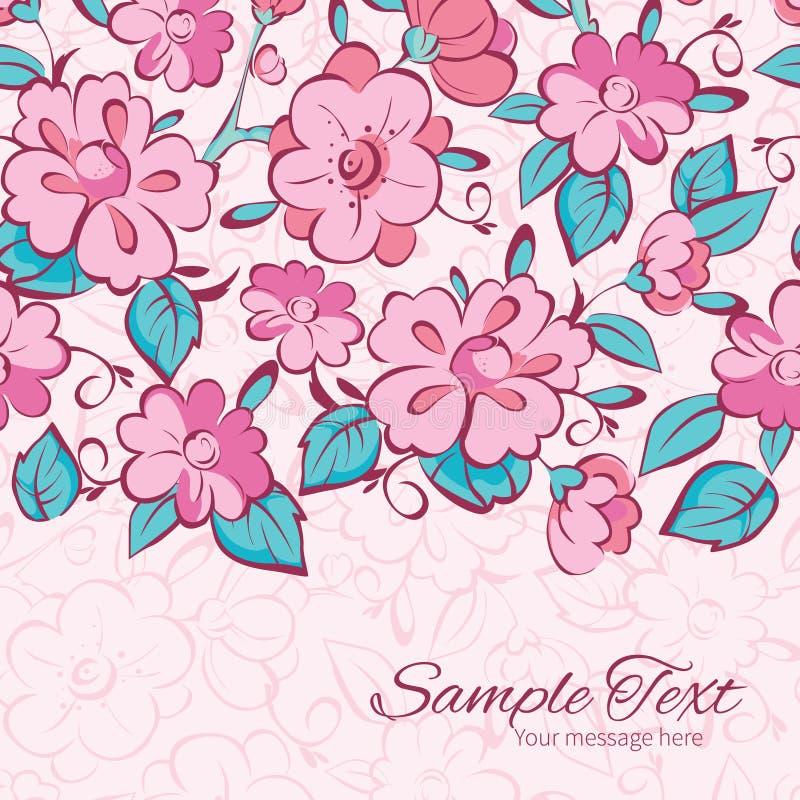 De vector roze blauwe kimono bloeit horizontale grens royalty-vrije illustratie