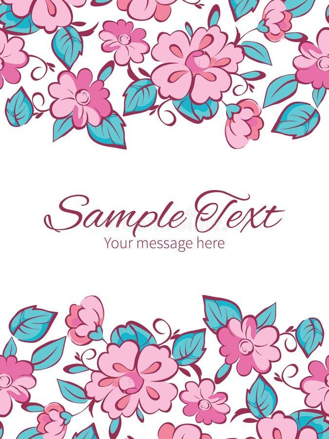 De vector roze blauwe kimono bloeit verticaal dubbel royalty-vrije illustratie