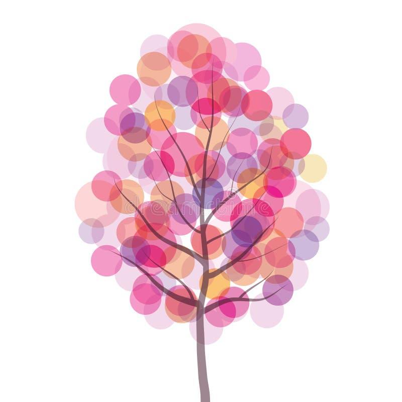 De vector roze illustratie van de boom abstracte cirkel