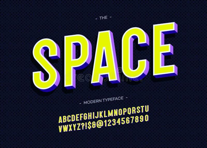 De vector ruimte kleurrijke stijl van de lettersoort 3d gewaagde typografie royalty-vrije illustratie