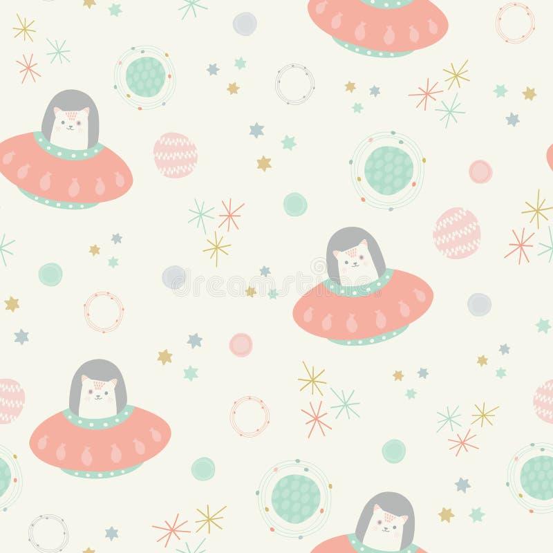 De vector ruimtekatten doorboren naadloos herhalen patroonachtergrond stock illustratie