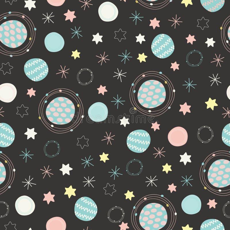 De vector ruimteplaneten en sterren naadloze hemel herhaalt patroonachtergrond vector illustratie